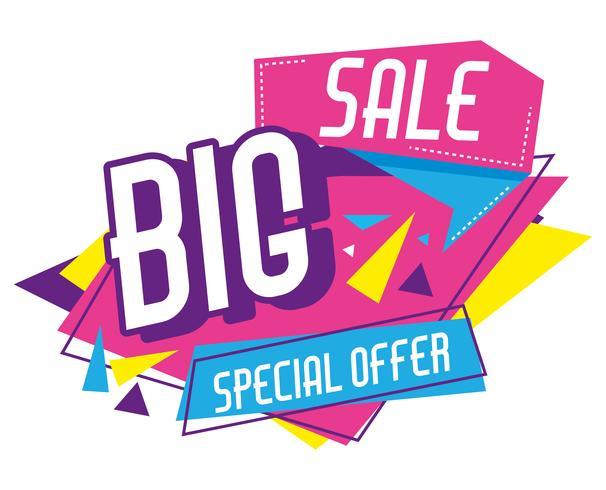 Big sale discounts poster memphis style