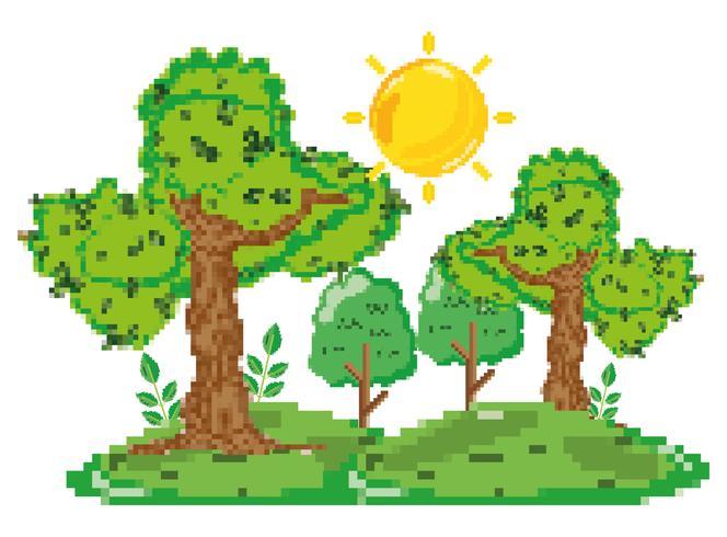 Paysage forestier pixélisé