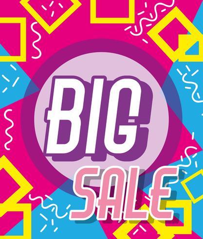 Cartaz de compras de grande venda estilo memphis