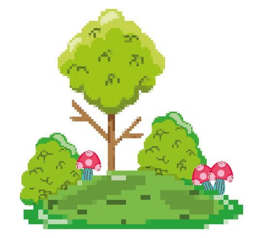 Pixelated boslandschap vector