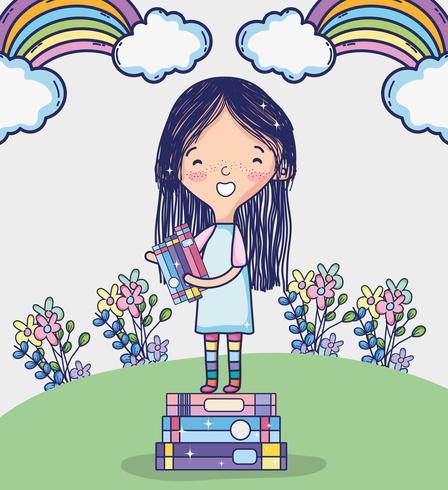 Leuk meisje dat een boekbeeldverhaal leest