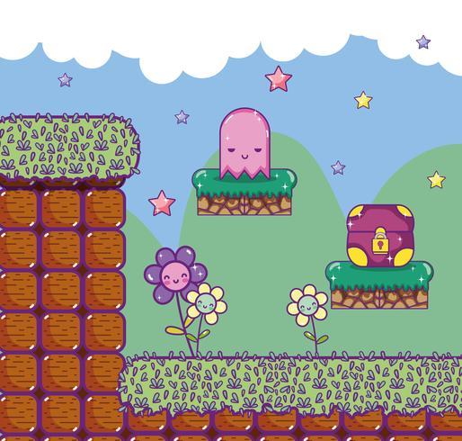 Paysages de jeux vidéo rétro pixélisés