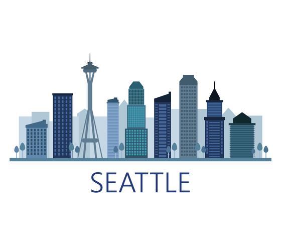 Skyline de Seattle sur fond blanc