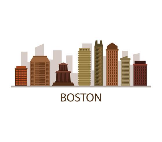 Skyline de Boston sur fond blanc