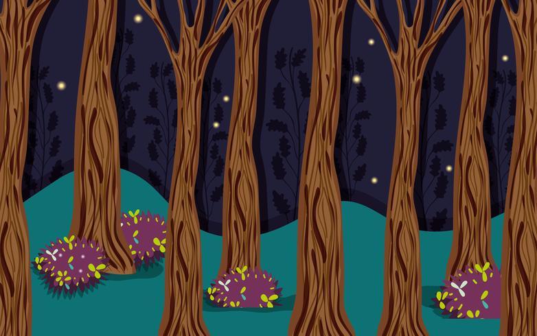 Wunderschöner Wald bei Nacht
