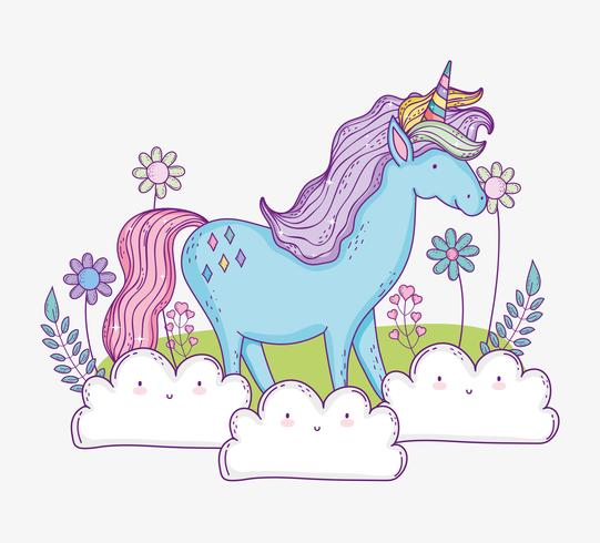 Unicornio lindo en las nubes con flores y hojas
