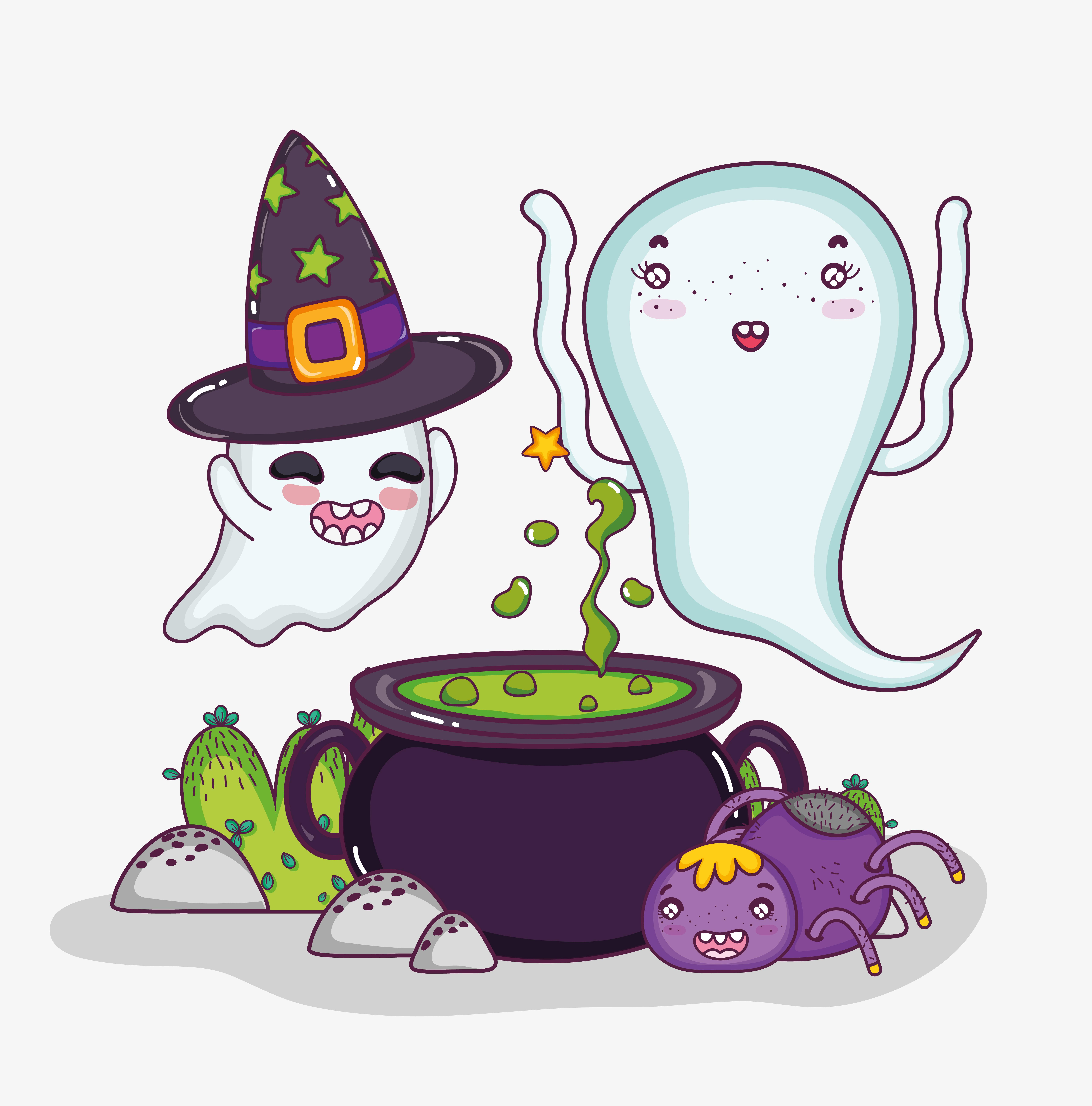 Cute ghosts halloween cartoons - Download Free Vectors ...