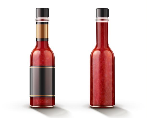 Maquette de bouteille de sauce chili piquante