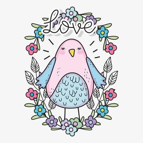 Pájaro con flores y hojas para el día de San Valentín. vector