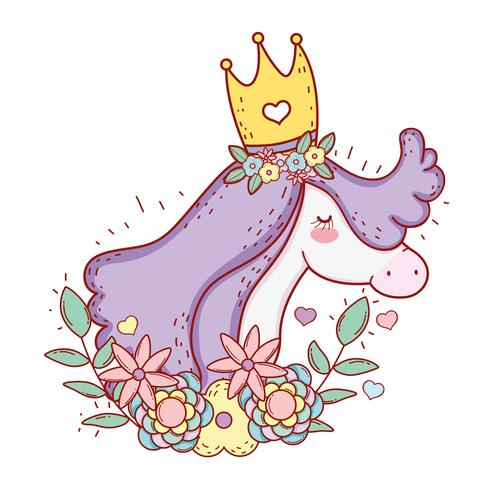 Unicornio con corona de flores y hojas de plantas.
