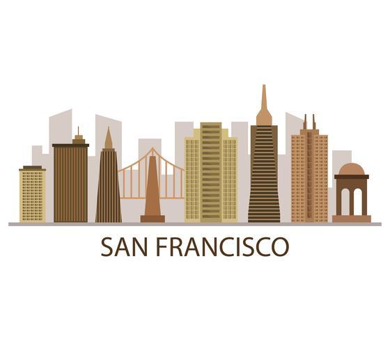 De horizon van San Francisco op een witte achtergrond