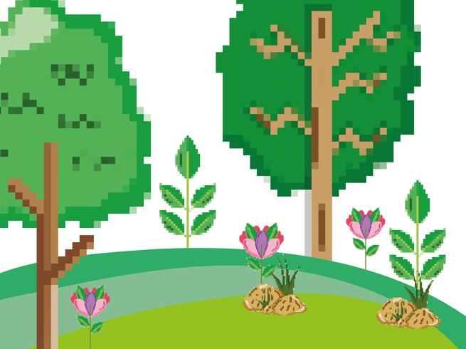 Paisaje de bosque pixelado.