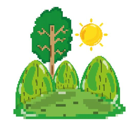 Pixelated forest scenery
