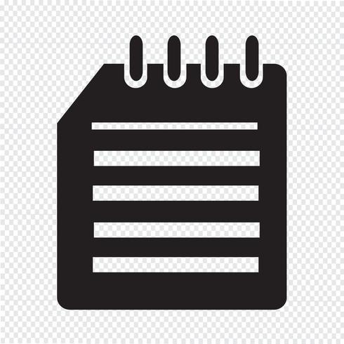 Sinal de símbolo de ícone de caderno