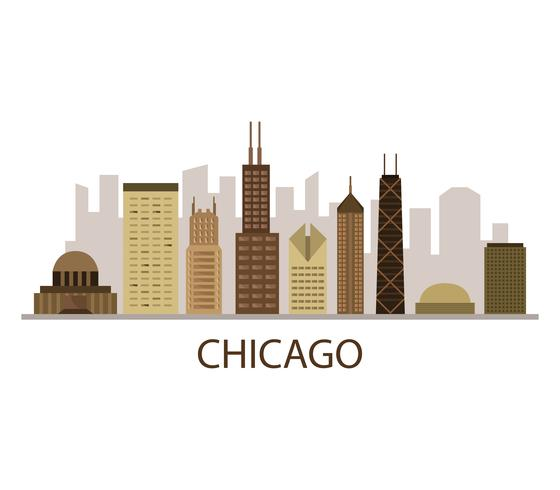 Skyline de Chicago sur fond blanc