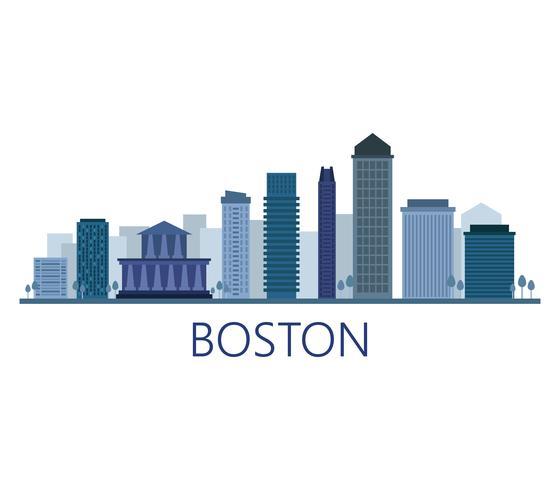 Skyline di Boston su uno sfondo bianco