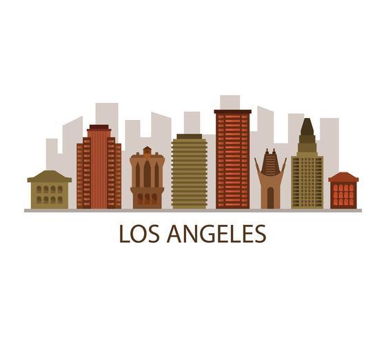 Skyline de Los Angeles sur fond blanc