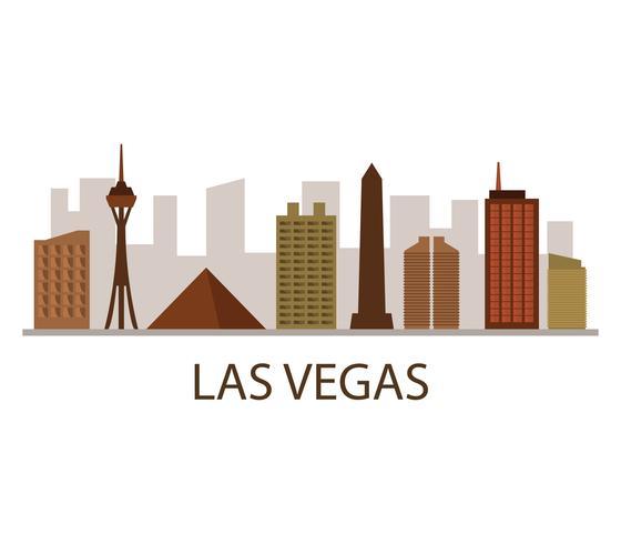 Skyline de Las Vegas sur fond blanc vecteur