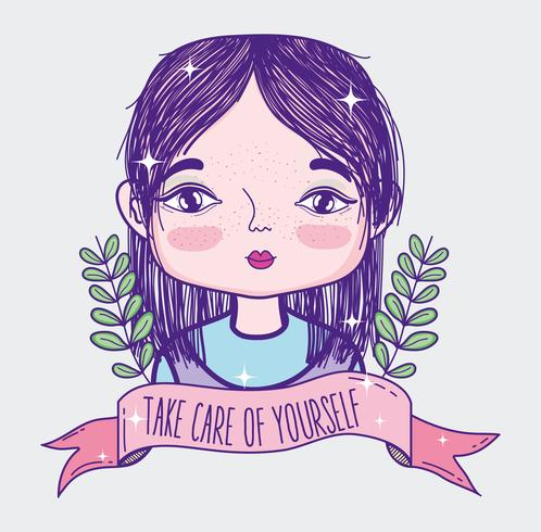Take care of yourself quote with girl cartoon vector
