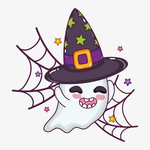 Cute ghost halloween cartoon