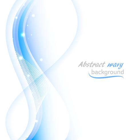 Abstract vector background with transparent blue wavy lines.