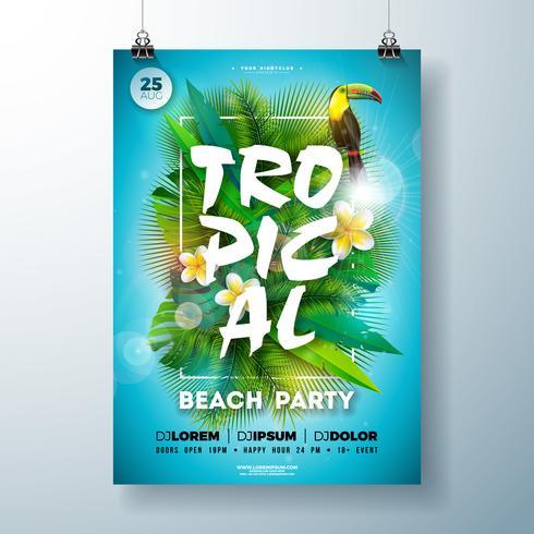 Estate tropicale Beach Party Flyer Design con fiore, foglie di palma e tucano uccello su sfondo blu. Modello di disegno di celebrazione di estate di vettore con elementi floreali di natura, piante tropicali