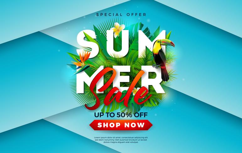Summer Sale Design with Flower, Toucan Bird and Tropical Palm Leaves on Blue Background. Vector Holiday Illustration with Special Offer Typography Letter for Coupon