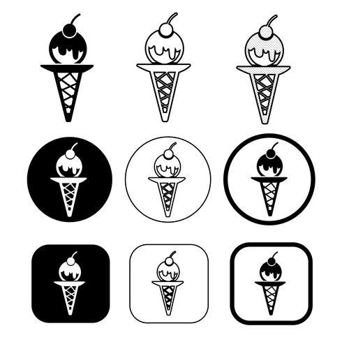 ensemble de simple icône de crème glacée