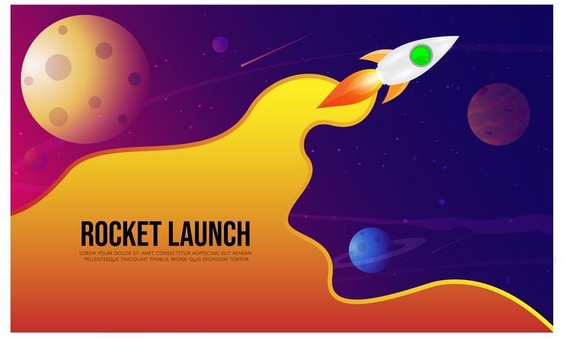 Lançamento de Rocket, ship.vector, conceito da ilustração do produto do negócio em um mercado. vetor