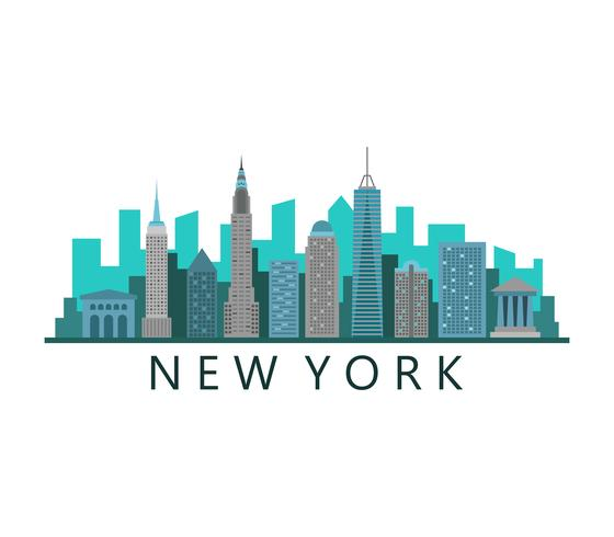 De horizon van New York op een witte achtergrond