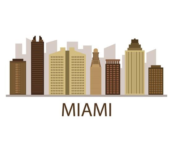 Miami skyline on a white background vector