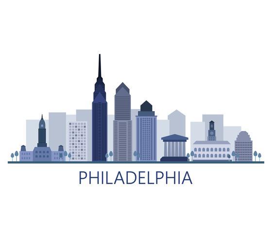 Skyline di Philadelphia su uno sfondo bianco