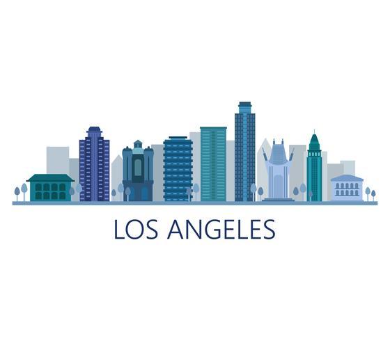 Skyline di Los Angeles su uno sfondo bianco vettore