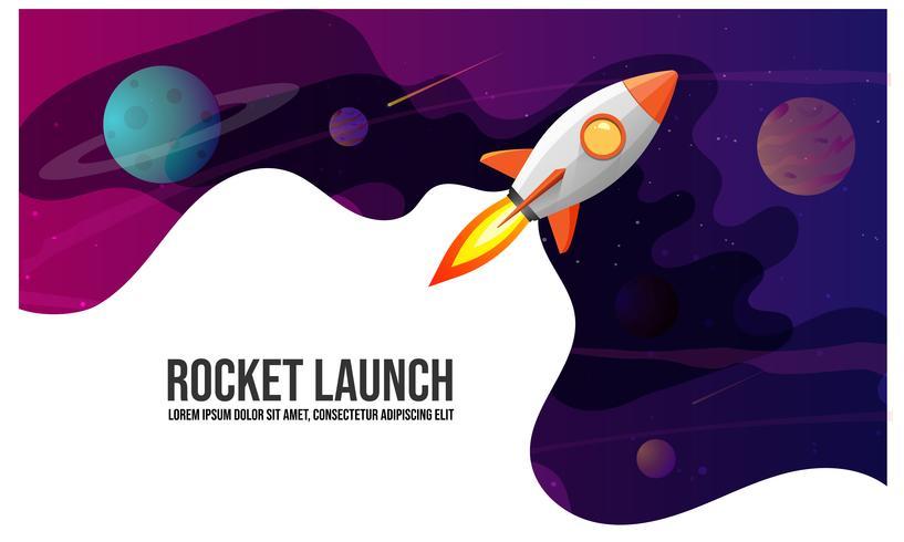 Raketenstart und Raumhintergrund mit abstrakter Form und Planeten. Web-Design. Weltraumforschung. Vektor-Illustration