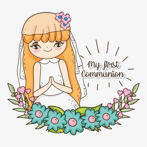 menina primeira comunhão com flores e folhas