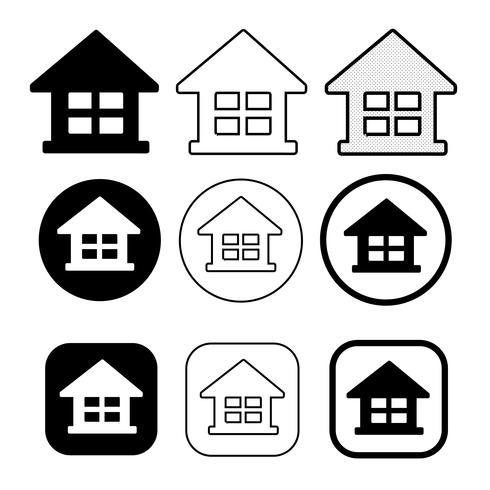 eenvoudig huis en huis pictogram symbool teken