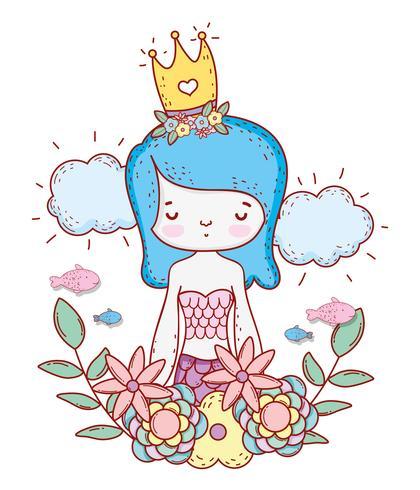 mermaid woman wearing crown with flowers and leaves