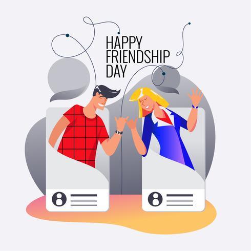 Glad vänskapsdag. Vektor illustration av vänner från sociala nätverk