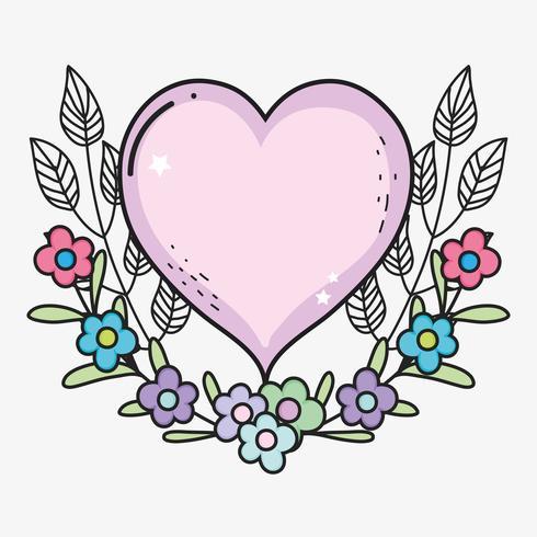 Corazón con flores y hojas al dia de san valentin. vector