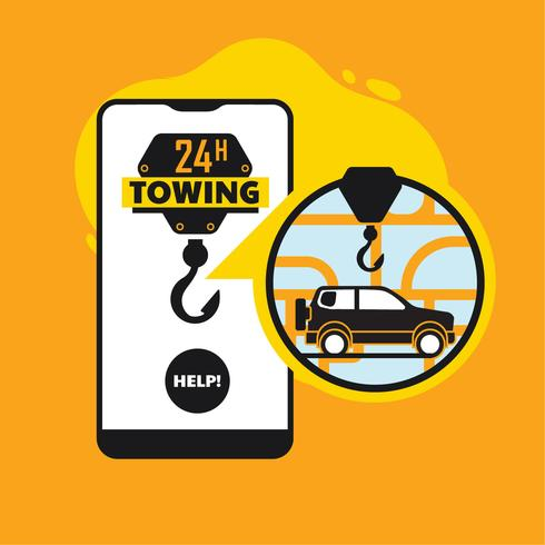 Assistência na estrada on-line, conceito de app móvel de serviço de reboque de carro