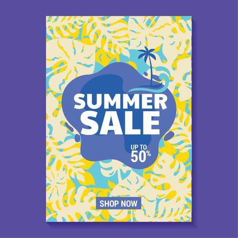 Ilustración de venta de verano con paleta, playa y fondo de hojas tropicales
