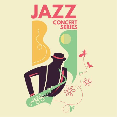 Saxofonista de fantasia tocar saxofone com fundo de borboleta para jazz de música vetor