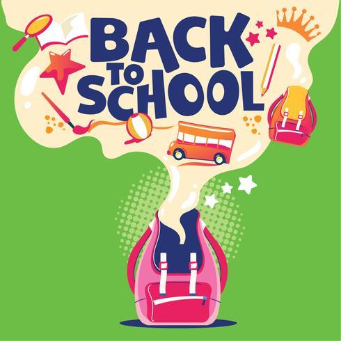 De volta à ilustração da escola, mochila com equipamento escolar vetor