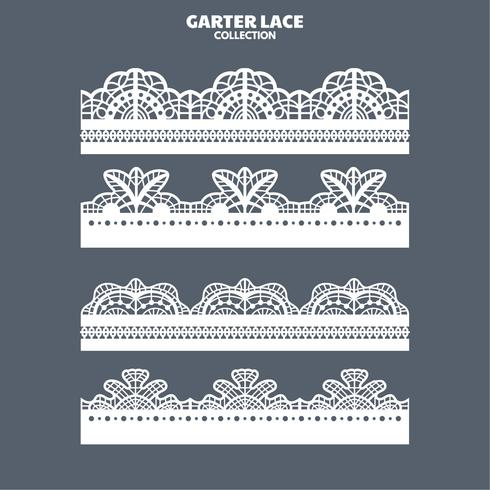Set Garter Lace Ornament for Embroidery, Cutting Paper and Laser Cut vector