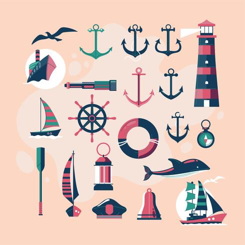 Cute and Vintage Nautical Vector Design Elements