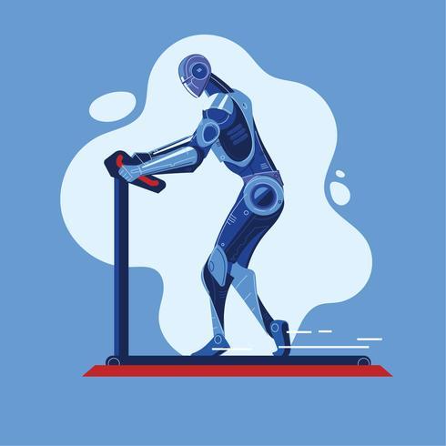 Robô funciona em uma esteira faz esporte Fitness trabalhando no conceito de ginásio vetor