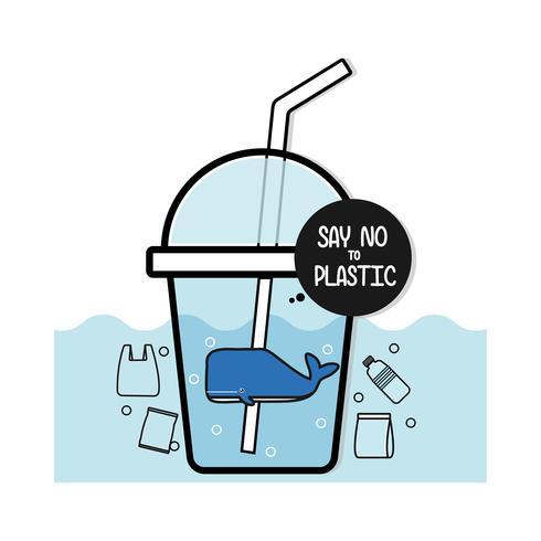 Balena in bottiglia. Dire NO alla plastica. Concetto di problemi di inquinamento. vettore