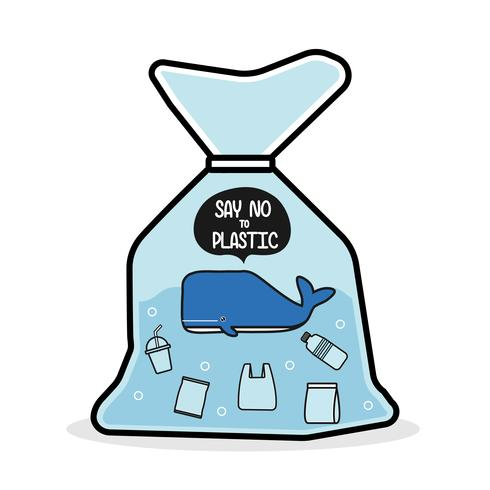 Whale in a plastic bag say no to plastic. Pollution problem concept . vector