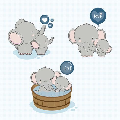 Mamá encantadora y bebé elefante con amor. vector