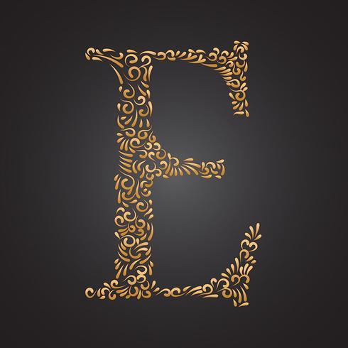 Elegante gouden sier letter E